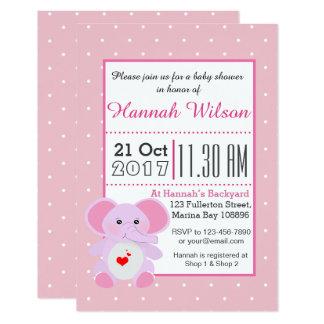 Cute Pink Elephant Baby Shower invitation