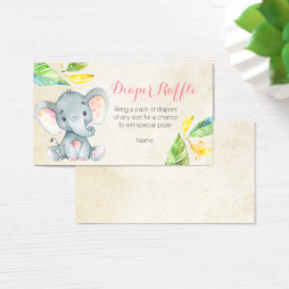 Cute Pink Elephant - Diaper Raffle Card