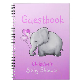 Cute Pink Elephant Girl Baby Shower Guestbook Notebook