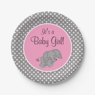 Cute Pink Elephant Girl Baby Shower Paper Plate