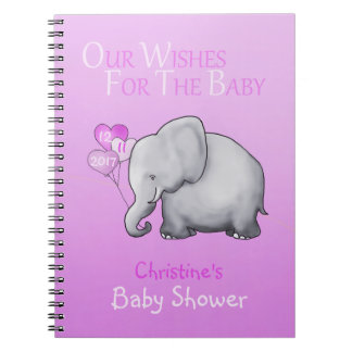 Cute Pink Elephant Girl Baby Shower Wishes Spiral Notebook
