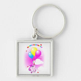 Cute Pink Elephant Happy Birthday Keychain
