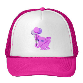 Cute Pink Elephant Holding Shiny Balloons Cap