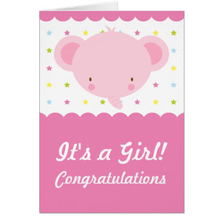 Cute Pink Elephant Its a Girl Congratulations Card