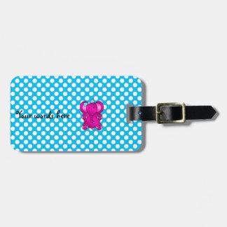 Cute pink elephant luggage tag