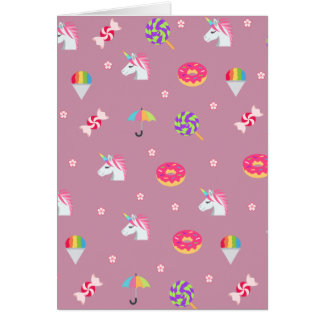 cute pink emoji unicorns candies flowers lollipops card