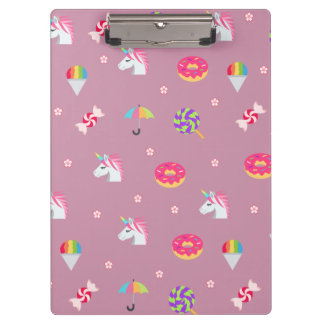 cute pink emoji unicorns candies flowers lollipops clipboard