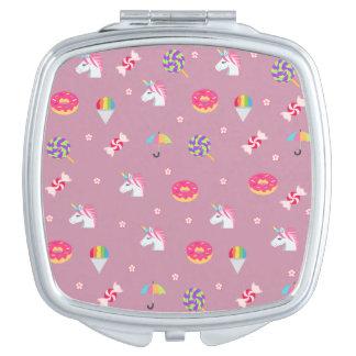 cute pink emoji unicorns candies flowers lollipops compact mirrors