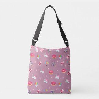 cute pink emoji unicorns candies flowers lollipops crossbody bag
