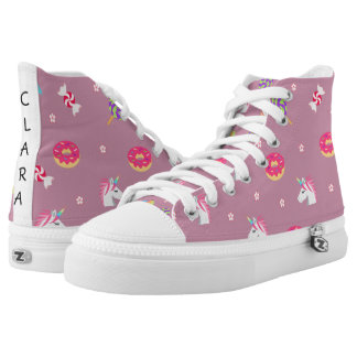 cute pink emoji unicorns candies flowers lollipops high tops