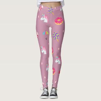 cute pink emoji unicorns candies flowers lollipops leggings
