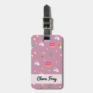 cute pink emoji unicorns candies flowers lollipops luggage tag