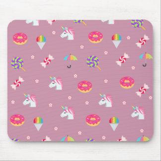 cute pink emoji unicorns candies flowers lollipops mouse pad
