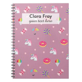 cute pink emoji unicorns candies flowers lollipops notebooks
