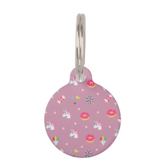 cute pink emoji unicorns candies flowers lollipops pet name tag