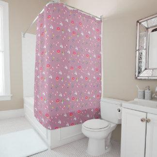 cute pink emoji unicorns candies flowers lollipops shower curtain
