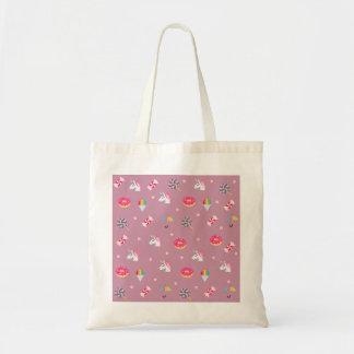 cute pink emoji unicorns candies flowers lollipops tote bag