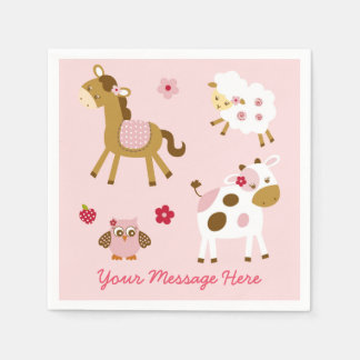 Cute Pink Farm Animal Baby Shower Paper Napkin
