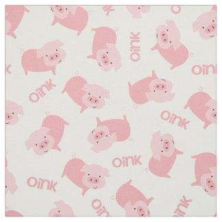 Cute Pink Farm Pigs Pattern Fabric