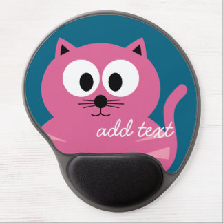 Cute Pink Fat Cat - Blue Background Gel Mouse Pad