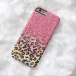 Cute pink faux glitter leopard animal print