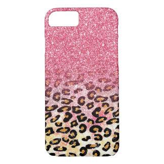 Cute pink faux glitter leopard animal print iPhone 7 case