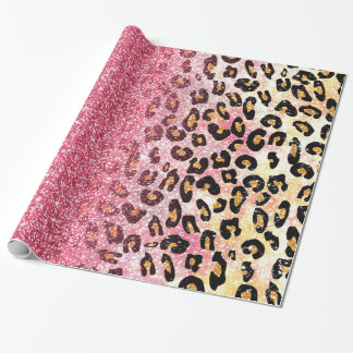 Cute pink faux glitter leopard animal print gift wrap paper