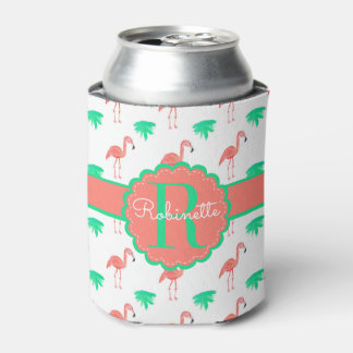 Cute Pink Flamingo Patterned Monogrammed Can Cooler