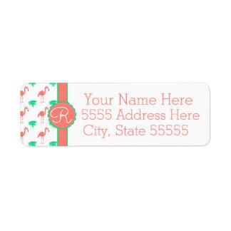 Cute Pink Flamingo Patterned Monogrammed Return Address Label
