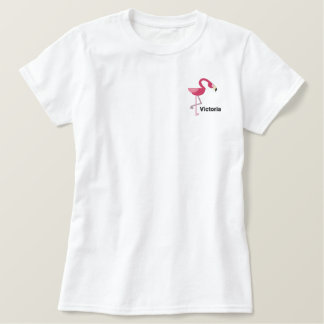 Cute Pink  Flamingo Personalized Embroidered Polo Shirts