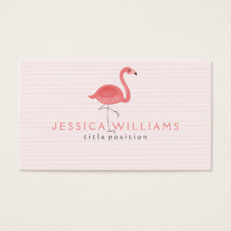 Cute Pink Flamingo & Stripes Business Card