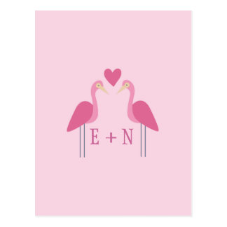 Cute Pink Flamingo Wedding Couple Postcard