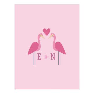Cute Pink Flamingo Wedding Couple Postcard