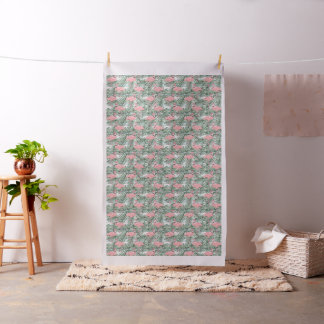 Cute Pink Flamingoes Palm Leafs Pattern Fabric
