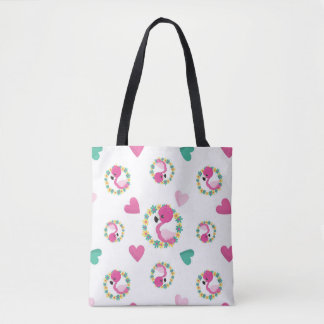 Cute Pink Flamingos and Hearts Tote Bag