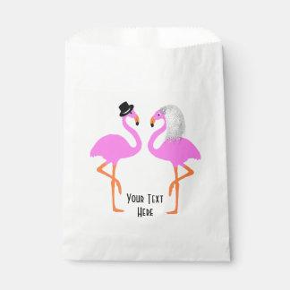 Cute Pink Flamingos Bride & Groom Wedding Favour Bags