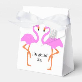 Cute Pink Flamingos Bride & Groom Wedding Favour Box
