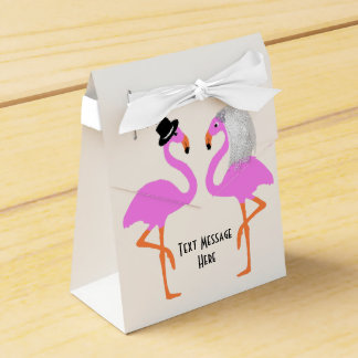 Cute Pink Flamingos Bride & Groom Wedding Wedding Favour Box
