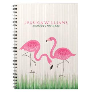 Cute Pink Flamingos Illustration Notebook
