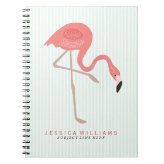 Cute Pink Flamingos Illustration With Mint Stripes Spiral Notebook