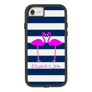Cute Pink Flamingos In Love,Striped-Personalized Case-Mate Tough Extreme iPhone 8/7 Case