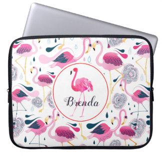 Cute Pink Flamingos Pattern Monogram Laptop Sleeve