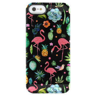 Cute Pink Flamingos & Tropical Flowers Collage Clear iPhone SE/5/5s Case