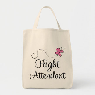 Cute Pink Flight Attendant Tote Bag