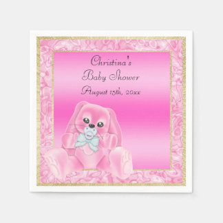 Cute Pink Floppy Ears Bunny Baby Shower Disposable Napkins