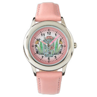 Cute Pink Floral Child's Watch