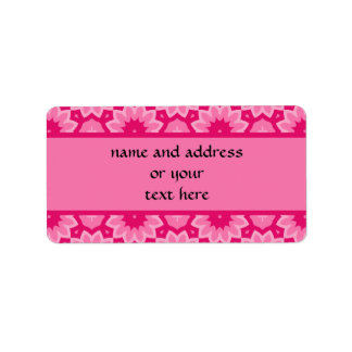 Cute pink floral kaleidoscope to personalize address label