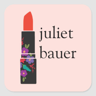 Cute Pink Floral Lipstick Makeup Artist Beauty Square Stickers