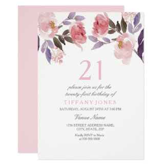 Cute Pink Floral Watercolor 21st Birthday Invite