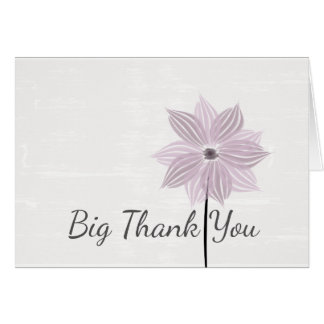 Cute Pink Flower Custom  Big Thank You Card